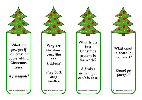 christmas tree jokes bookmarks - Childrens Christmas Jokes