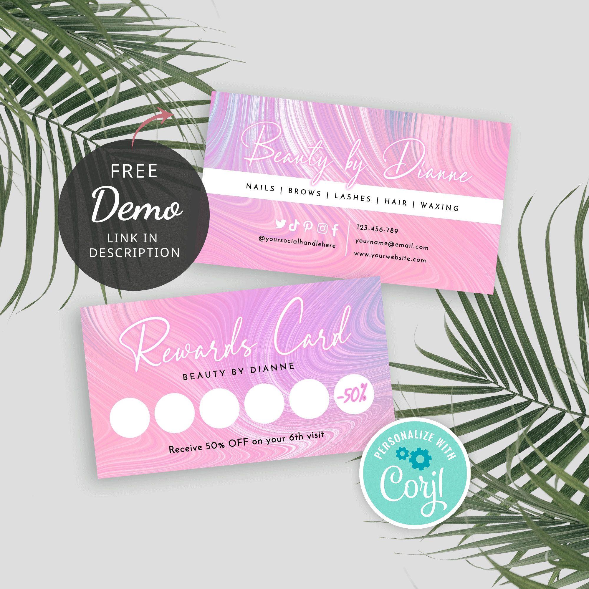 Diy Rewards Card Printable Beauty Loyalty Cards Template Etsy Loyalty Card Template Card Template Stamped Cards