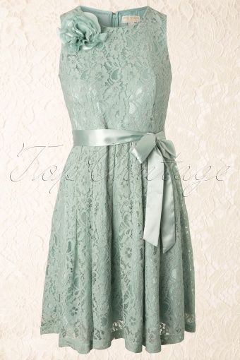 4a9022aa3bb26d Fever - 60s Daphne Dress in Mint Green Lace Muntkleurige Jurk Kant