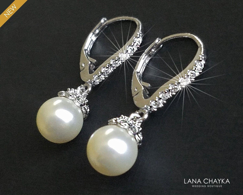 Pearl Drop Dangle .925 Sterling Silver EarringsBridal wedding earring