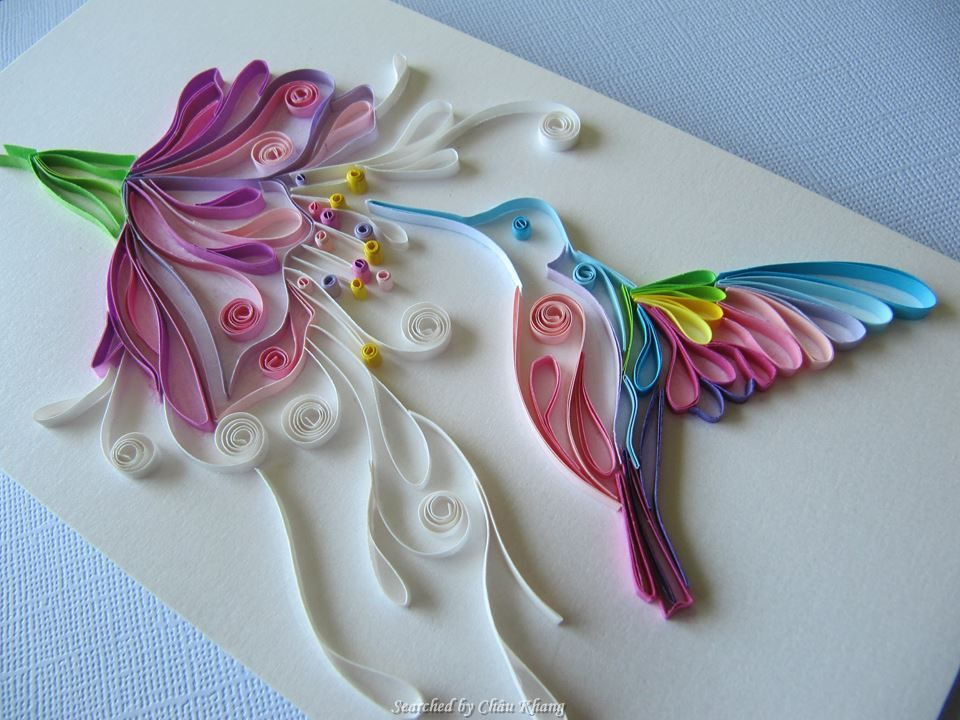 Unknown artist quilling about flowers and animals for Quilling craft ideas