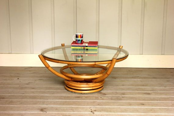 Vintage Rattan Glass Lazy Susan Coffee Table Bamboo Round Glass