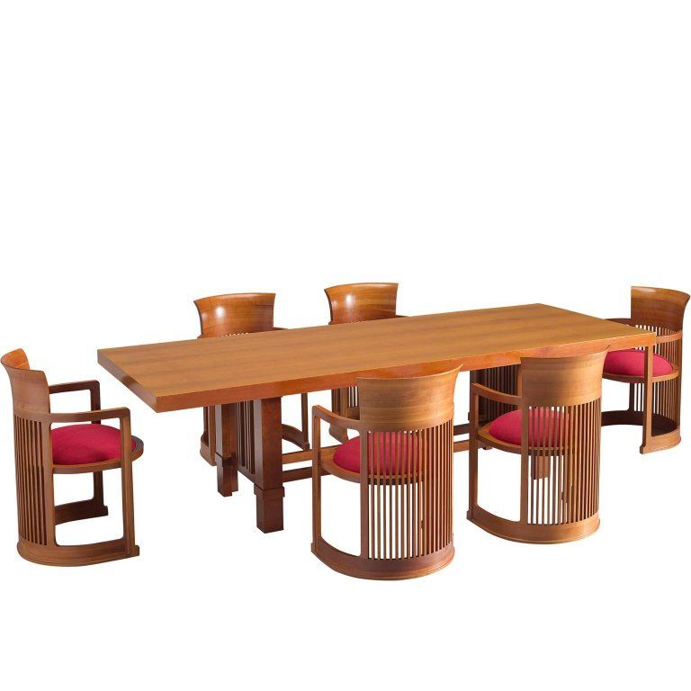 Frank Lloyd Wright Taliesin Dining Table And Barrel Chairs For Cina 1