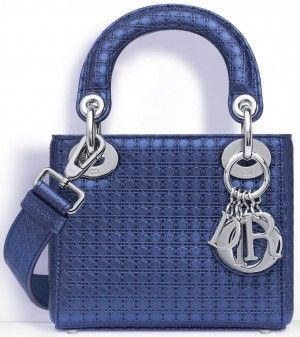 3dad4a549 lady dior silver-tone perforated calfskin | Dior Metallic Blue Perforated  Calfskin Lady Dior Micro Bag