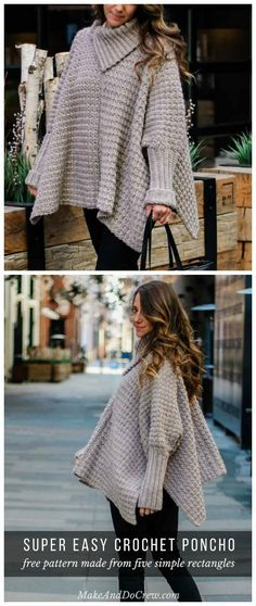 Alpine Poncho Sweater Crochet Free Pattern - Women Poncho #crochetsweaterpatternwomen