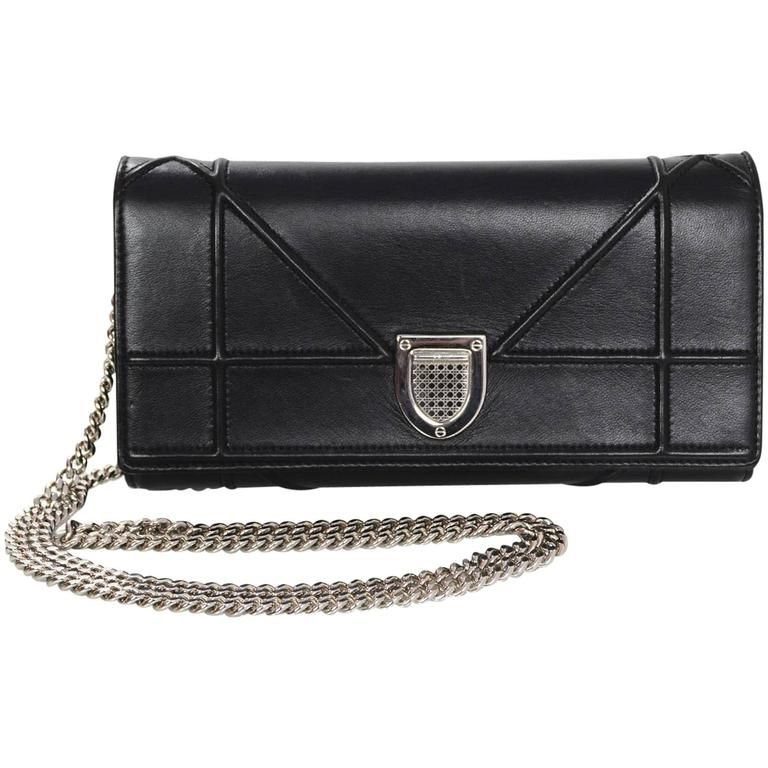 ef650d50e13 Christian Dior Black Diorama Croisiere WOC Wallet on a Chain Crossbody Bag