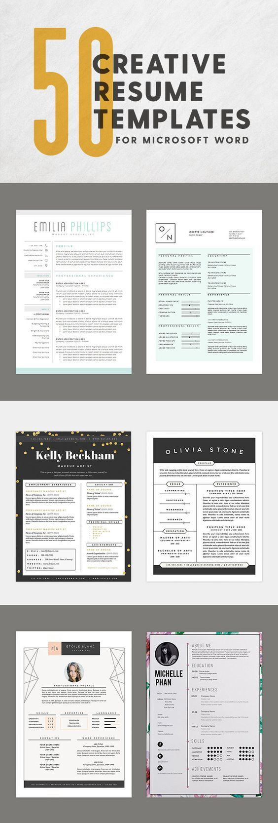 50 Creative Resume Templates You Won T Believe Are Microsoft Word Microsoft Word Resume Template Job Resume Creative Resume