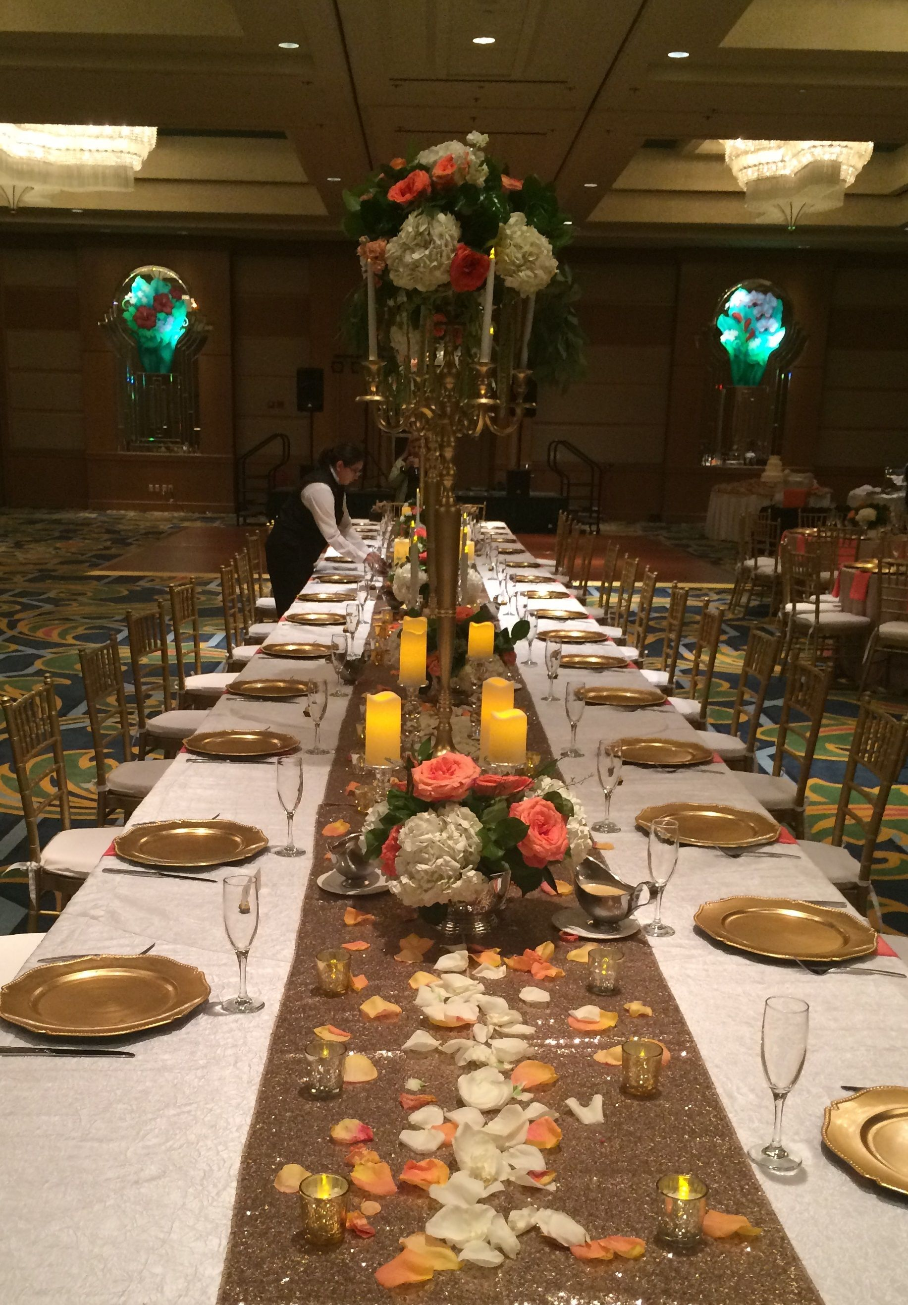 A setting of a head/family/royal tabel Moody Gardens Wedding in ...