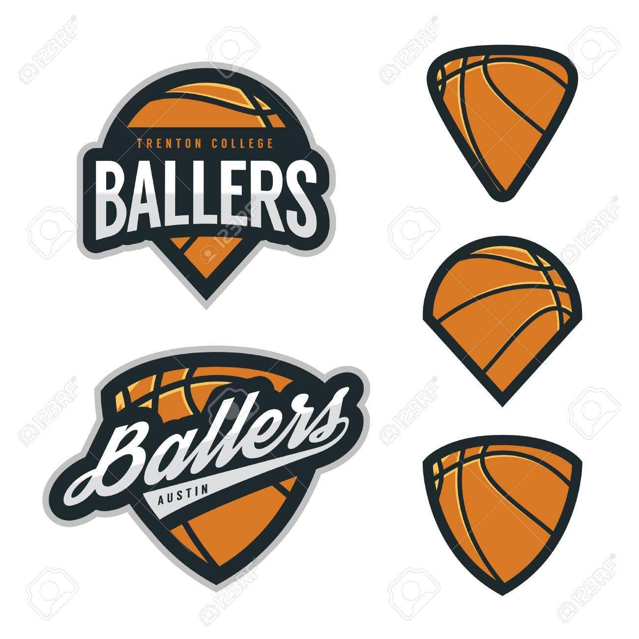 Set of basketball team emblem backgrounds , sponsored,