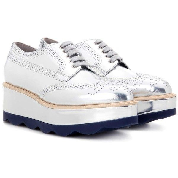 Prada Metallic Leather Platform Brogues (€830) ❤ liked on Polyvore  featuring shoes,