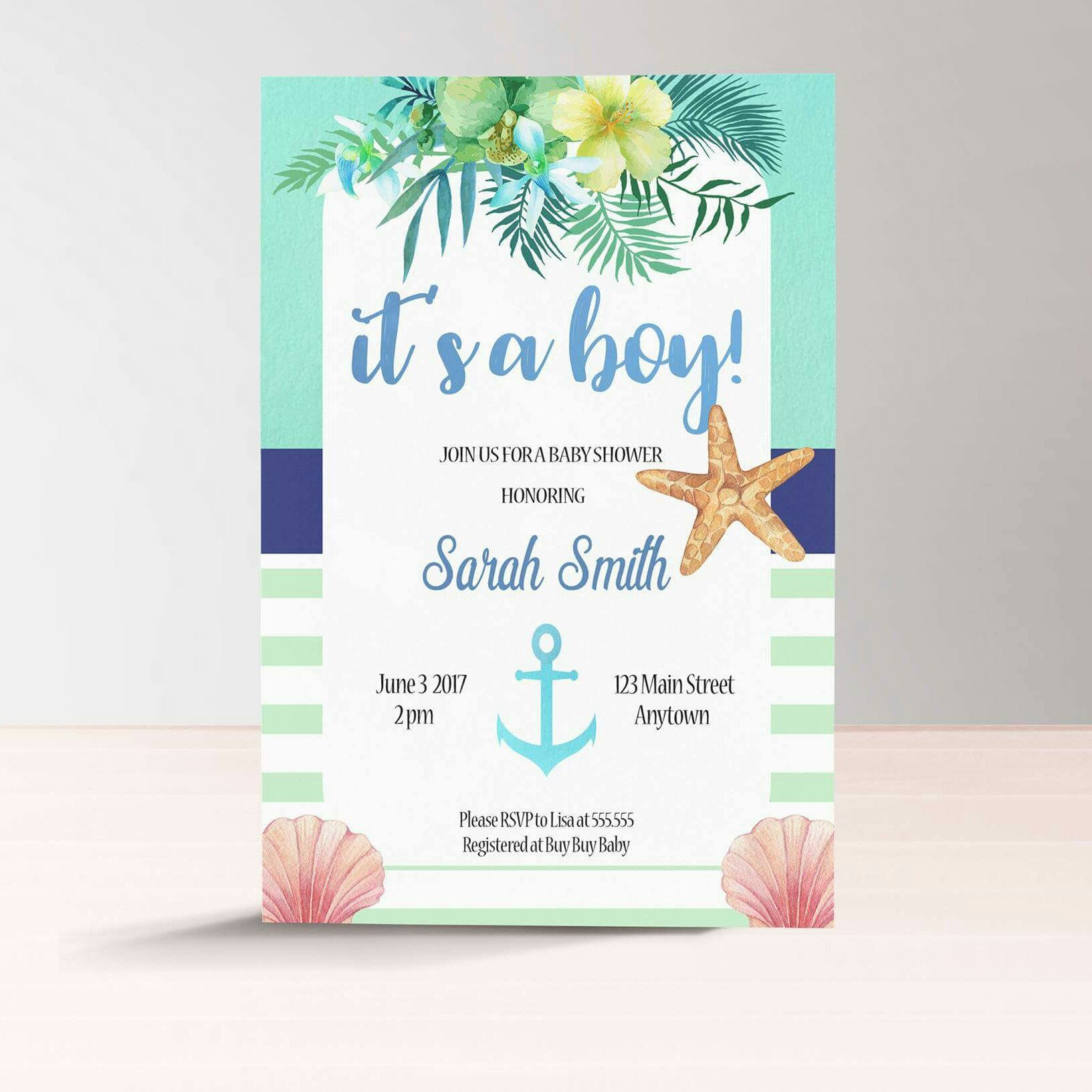 Nautical Baby Shower Invitation For A Boy Add Your Etsy