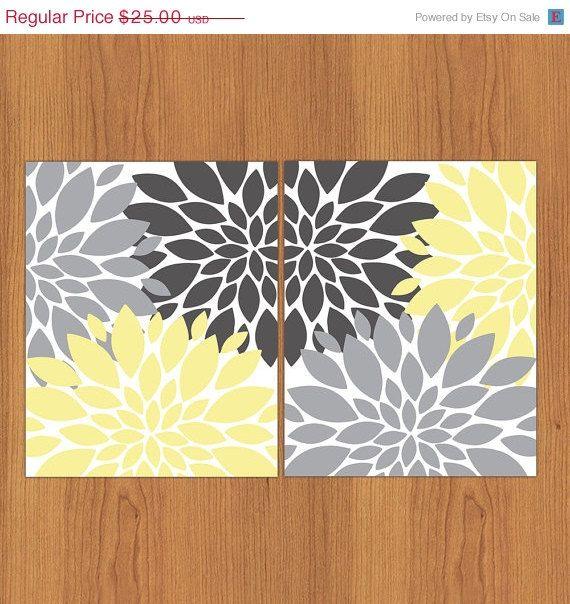 Bathroom Accessories Black Friday: Floral Flower Burst Yellow Grey Set Of 2 Wall Art Baby