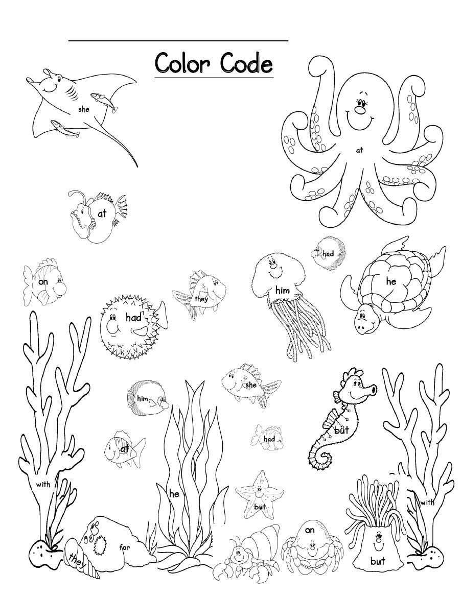 Ocean Scene Sight Word Color Code   Scribd   Froggy Preschool Room ...