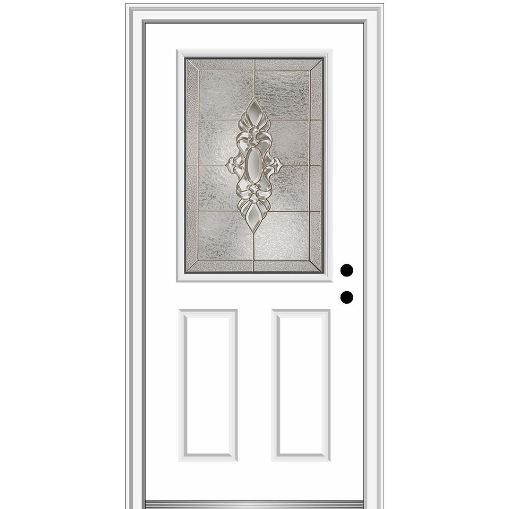 Mmi Door 32 In X 80 In Heirlooms Left Hand Inswing 1 2 Lite Decorative 2 Panel Painted Steel Prehung Front Door Brilliant White Decorative Hinges Prehung Doors Classic Doors