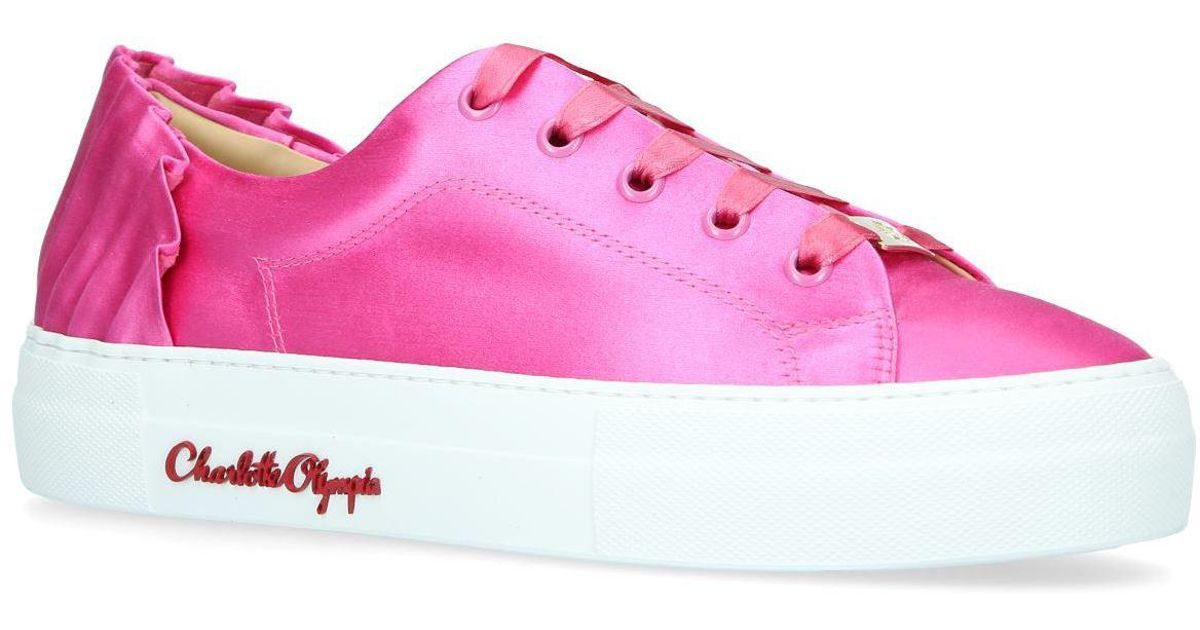 b7351bf7cc3bae Charlotte Olympia - Pink Satin Paloma Sneakers - Lyst