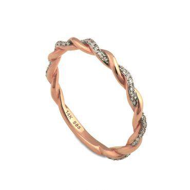 Μοντέρνο λεπτό δαχτυλίδι Κ14 από ροζ χρυσό πλεξούδα ή κοτσίδα με σειρέ  διαμάντια σε λευκόχρυσο φόντο ef4bf1a9369