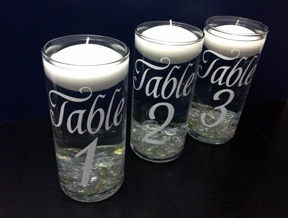 Wedding Table Numbers Floating Candle Centerpiece On Etsy 7 00 Floating Candles Wedding Candle Table Numbers Wedding Numbers