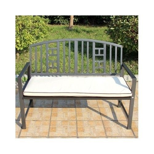 2 Seater Metal Garden Bench w/ Cushion Outdoor Yard Conservatory ...