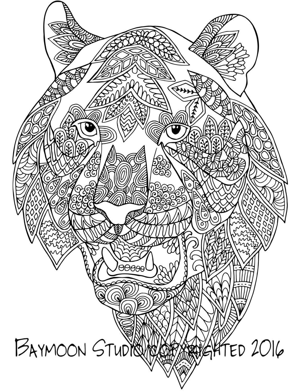 Cabeza de tigre para colorear página Ilustración por BAYMOONSTUDIO ...