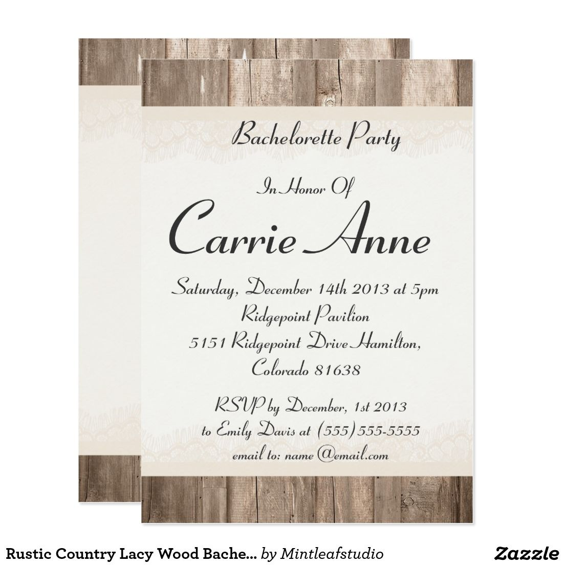 Rustic Country Lacy Wood Bachelorette Party Invite | Bachelorette ...