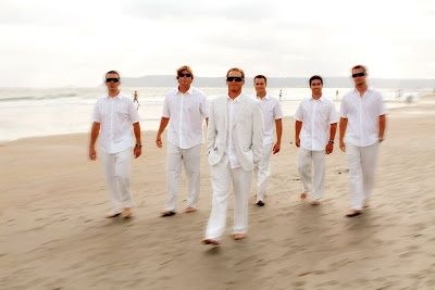Casual groom and groomsmen linen pants and jacket would for White beach wedding dresses for guests