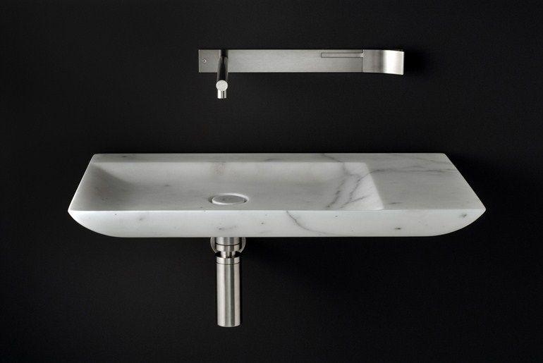 Single marble washbasin l by boffi design norbert wangen