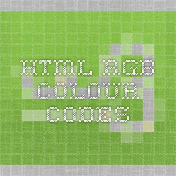 HTML RGB colour codes