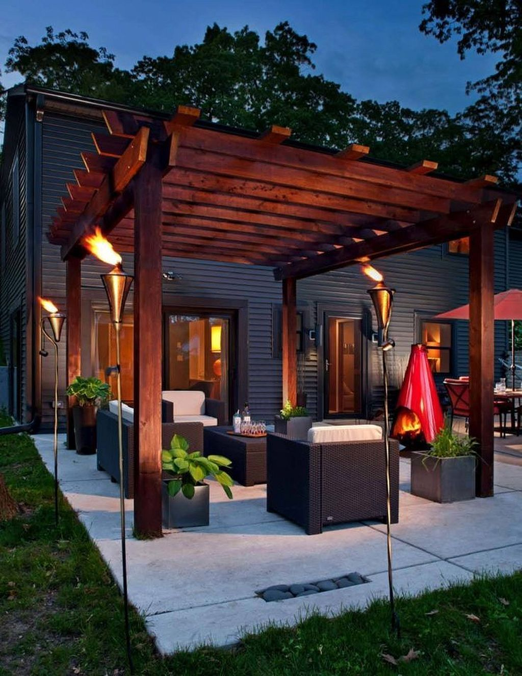 Deck Decorating Ideas- Pergola, Lights And Cement ...