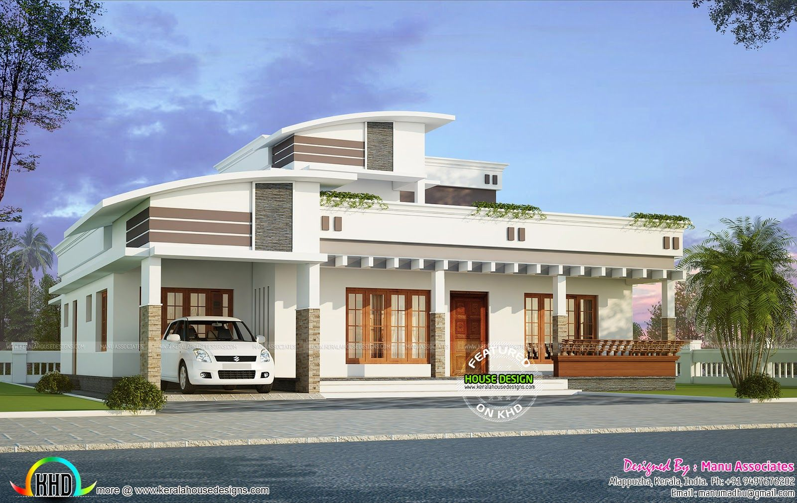 Modern Home 2300 Sq Ft Jpg 1600 1010 Indian House Plans Bungalow House Design House Styles