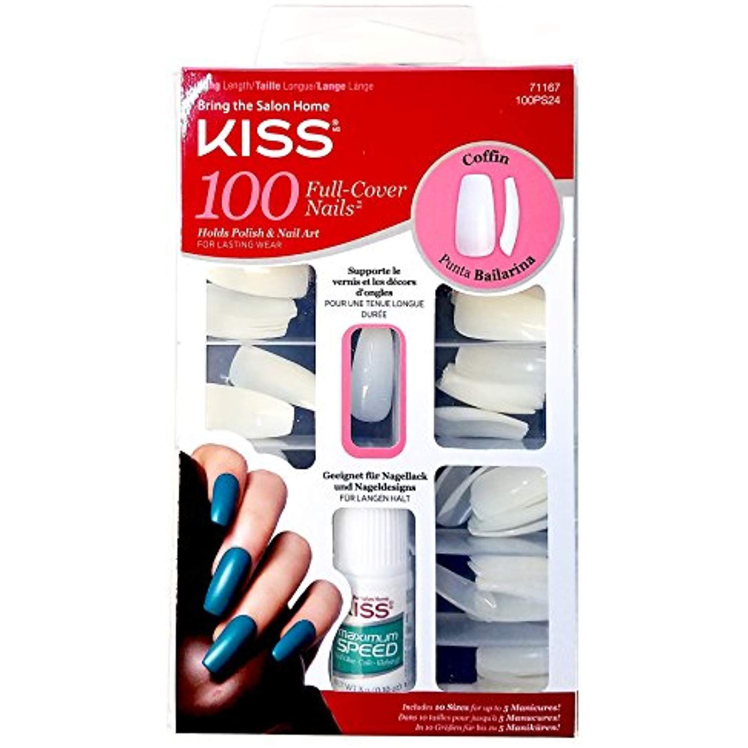 Kiss Ballerina Coffin 100 Tips 71167 100ps24 Long Length Nails 3 Pack See This Great Product This Is An Affiliat Glue On Nails Nail Tips Kiss Nails Kit