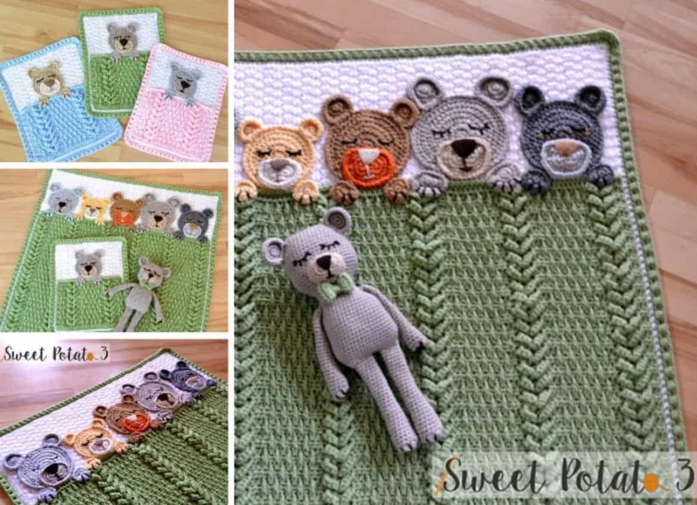 Sleep Tight Teddy Bear Blanket Pattern Crochet Pattern | Ropa bebe ...