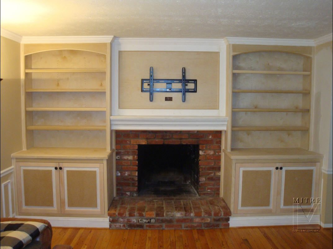Built In Cabinetry Around Fireplace With Boxed Mantel Feature And Recessed Panel For Flat Scr Fireplace Built Ins Built In Around Fireplace Fireplace Bookcase