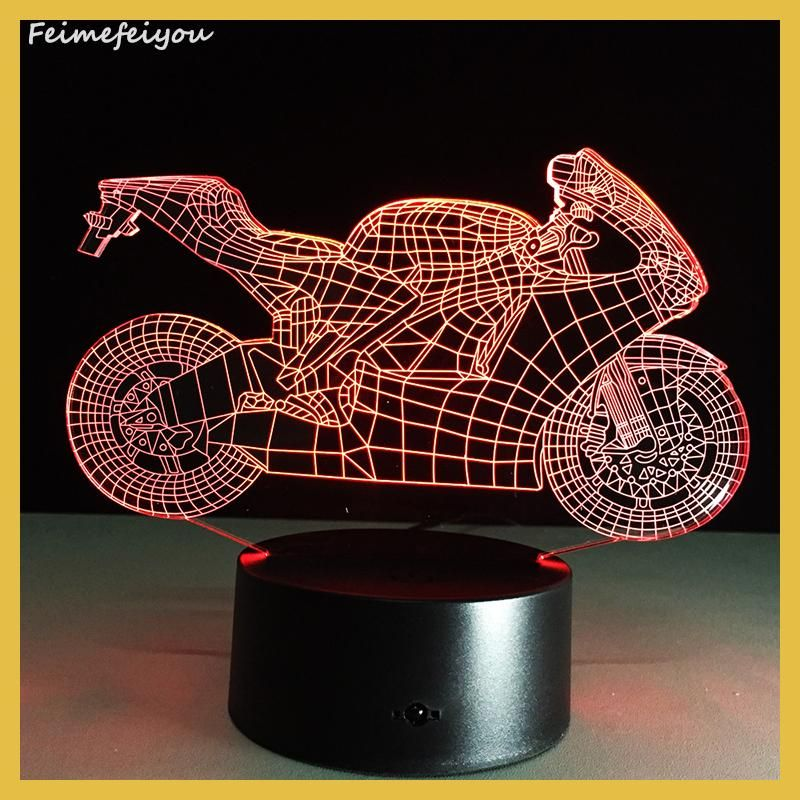 NEW Art Deco Crystal LED Lamps Children Bedroom Sleep Light 3D Motorcycle light