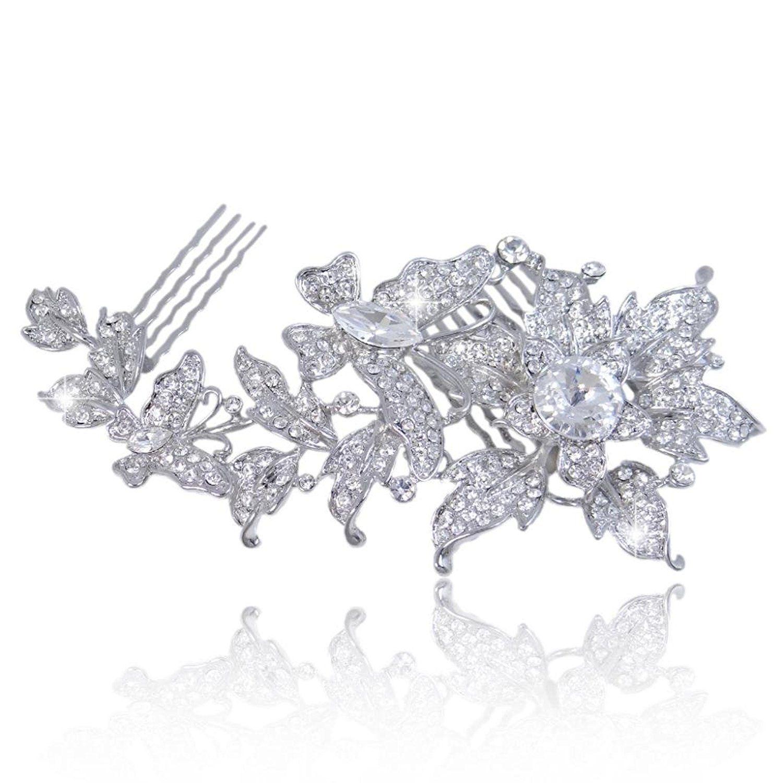 EVER FAITH® Austrian Crystal Dual Flower Butterfly Wedding
