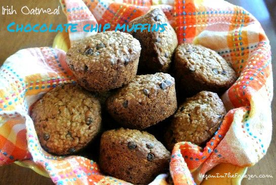Irish Oatmeal Chocolate Chip Muffins with a great texture and delicious chocolaty goodness.
