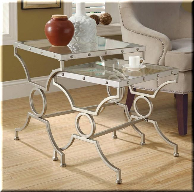 nesting end tables living room. Nesting End Tables 2 Piece Metal Glass Silver Living Room  Furniture eBay