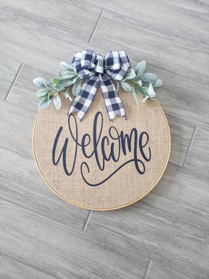 Photo of Wreaths for front door, welcome wreath, burlap hoop wreath, hoop wreaths for front door, hoop wreath, welcome hoop wreath, burlap wreath