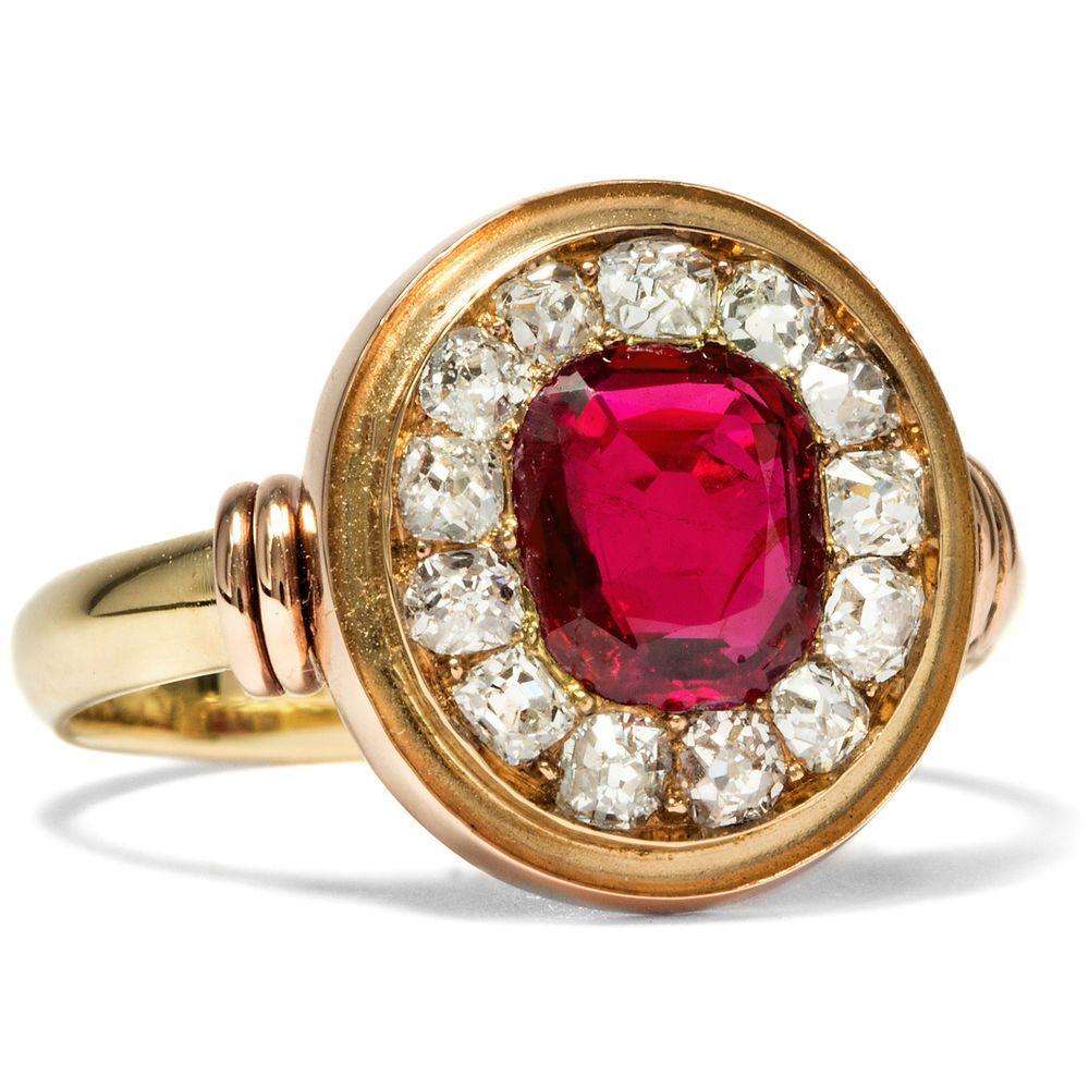 Details Zu Antiker Diamant Ring Mit Rubin Saphir Tricolore Um