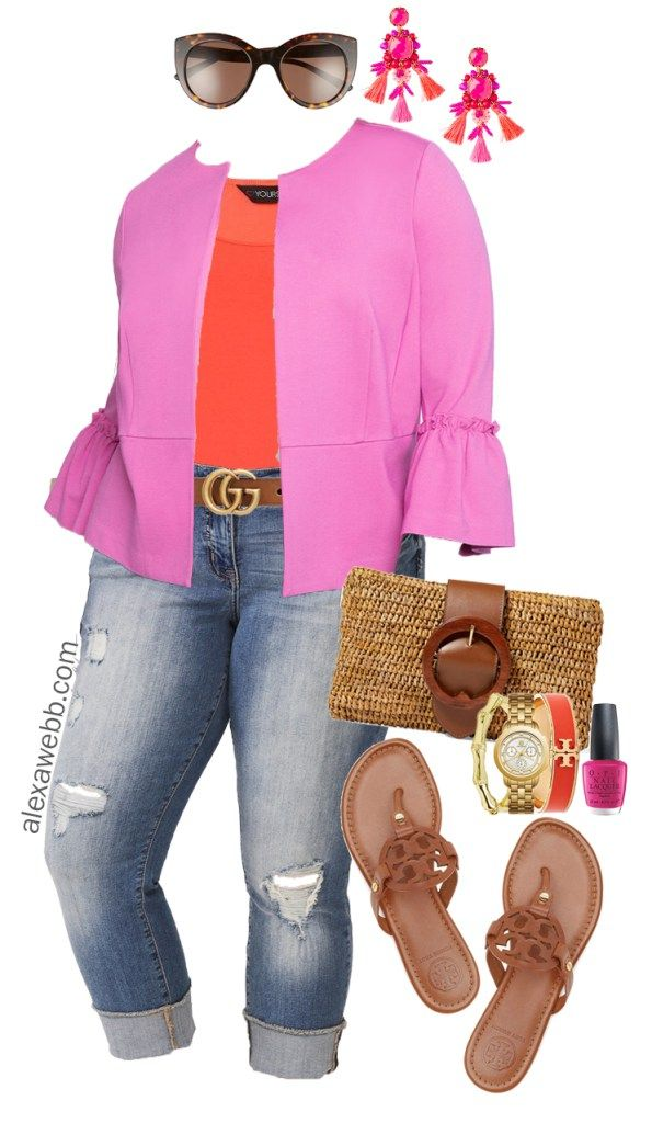 df2864d0a6d8 Plus Size Ruffle Blazer Outfit - Plus Size Summer Casual Outfit Idea - Plus  Size Fashion for Women - alexawebb.com  alexawebb