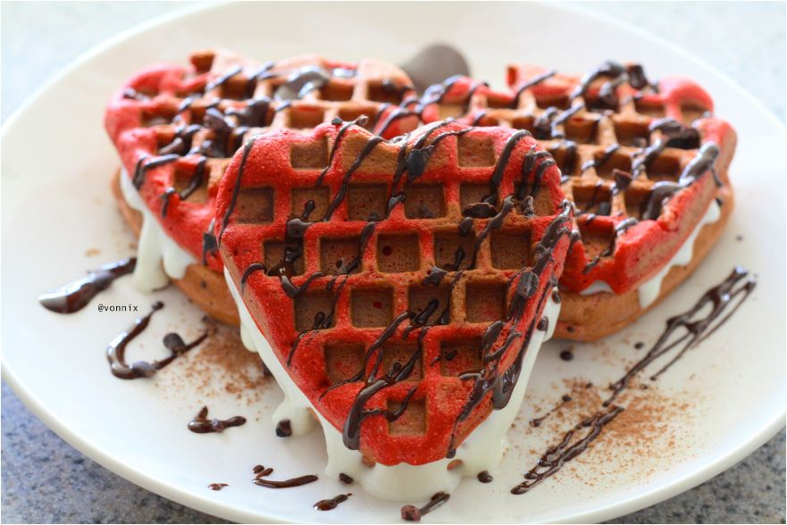 Red Velvet Waffles with cream cheese filling