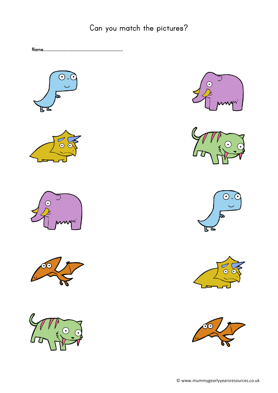 dinosaur matching pictures worksheet mummy g early years resources learn pinterest. Black Bedroom Furniture Sets. Home Design Ideas