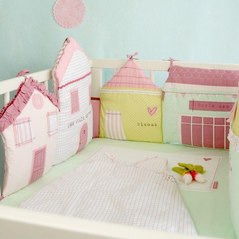 Tour de lit pastel forme petites maisons pour lit b b 60 - Lit chateau pour petite fille ...