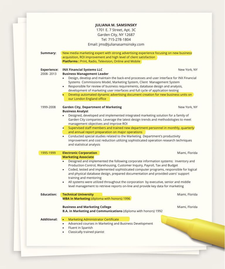 Tips for Writing a One Page Resume Sample resume, Job resume and - one page resume samples