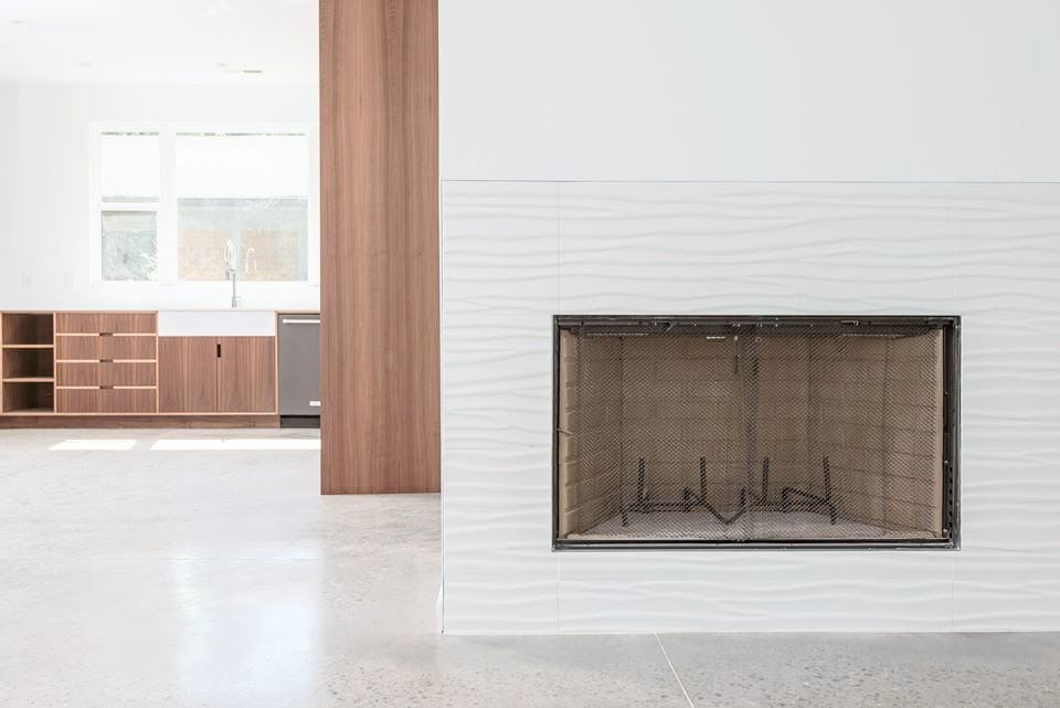 Bailey Walton Design Mid Century Modern Fireplace Minimalist Fireplace White Fireplace Tile Dimension Minimalist Fireplace Fireplace Tile Dimensional Tile