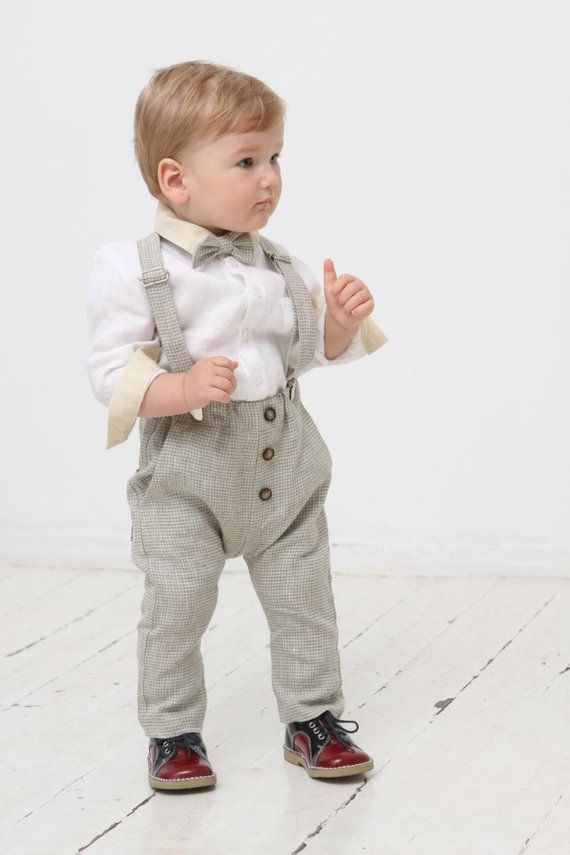 e9f671294 Baby boy pants Baby suspenders Bow tie Baby boy outfit Baby harem pants  Natural linen pants Baby clo