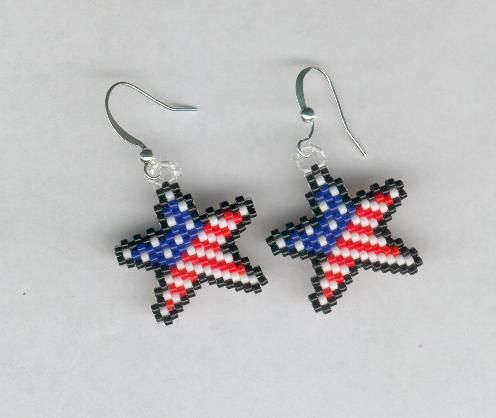 Patriotic Jelery Beaded Star American Flag Seed Beads By Foxymomma