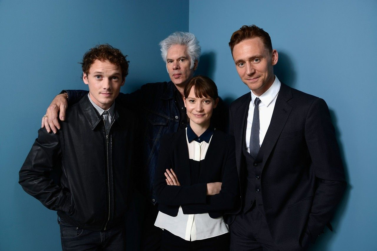 Tom Hiddleston, Anton Yelchin, Mia Wasikowska and director Jim Jarmusch of 'Only Lovers Left Alive' pose at the Guess Portrait Studio during 2013 Toronto International Film Festival - September 6, 2013