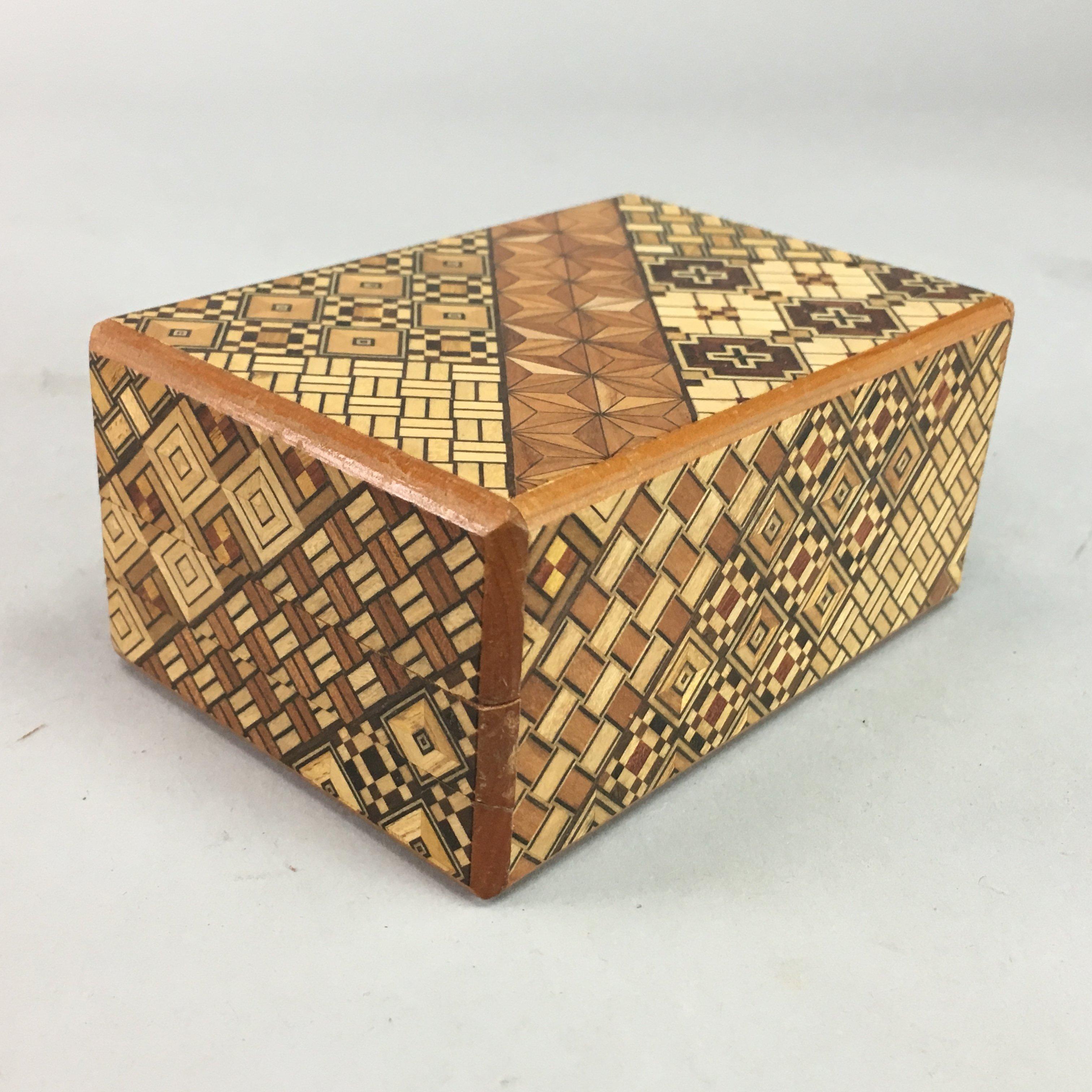 J624 Japanese Secret Puzzle Box Himitsu Bako Wood Yosegi Marquetry Trick Vtg With Images Japanese Puzzle