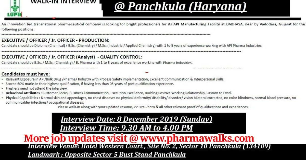 Lupin Ltd walkin interview for Production / Quality