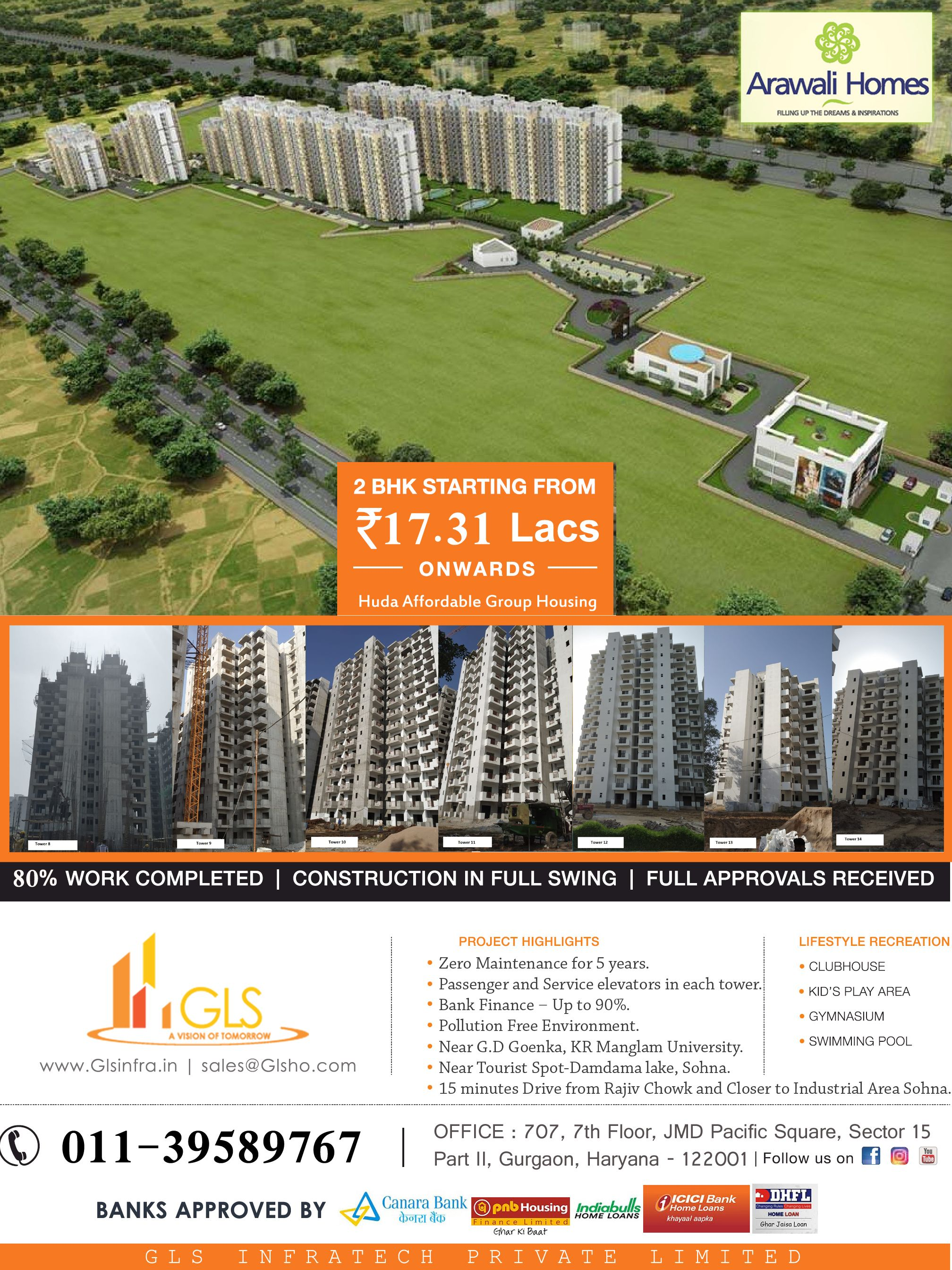 GLS Arawali Homes. Book your affordable homes